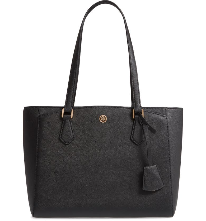 TORY BURCH Small Robinson Saffiano Leather Tote, Main, color, BLACK