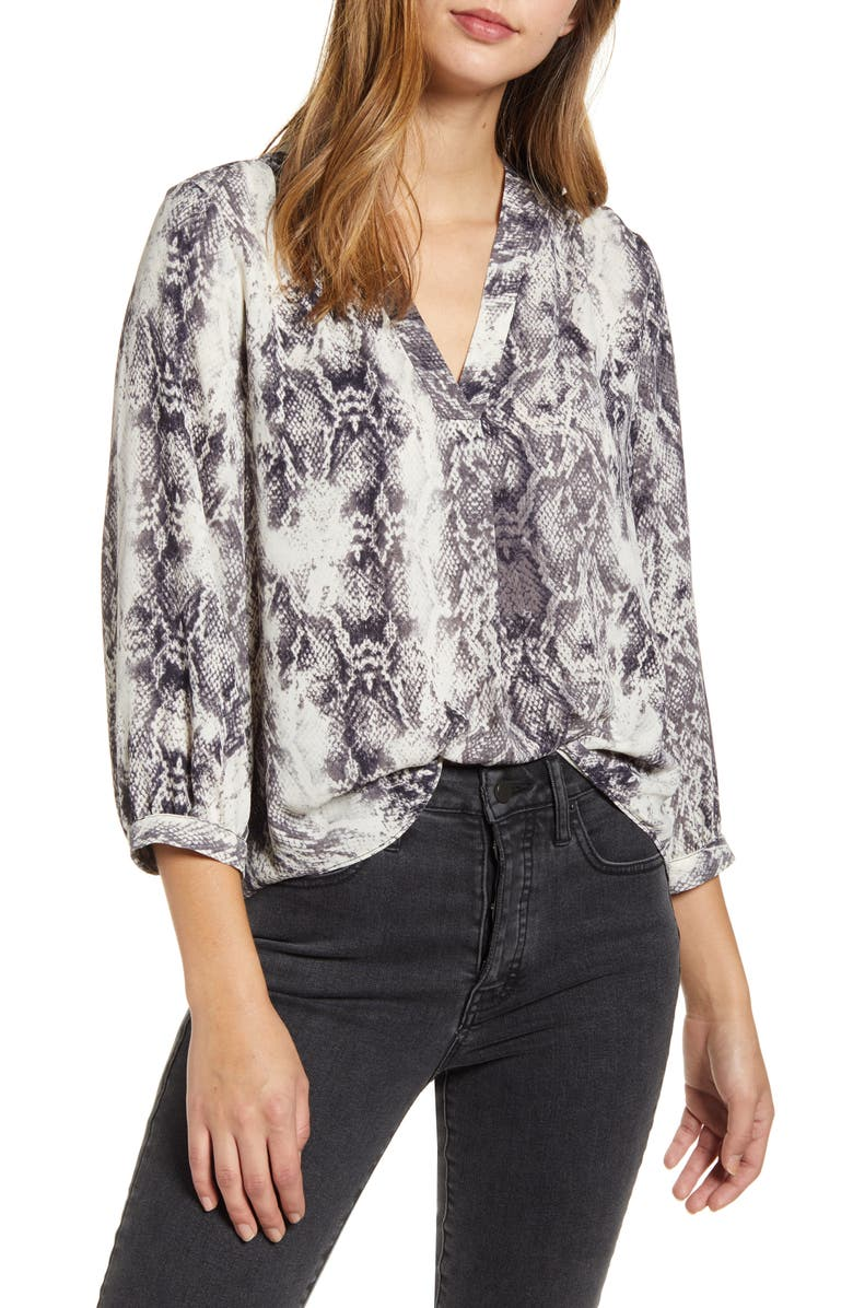 VINCE CAMUTO Snake Print Rumple Blouse, Main, color, RICH BLACK