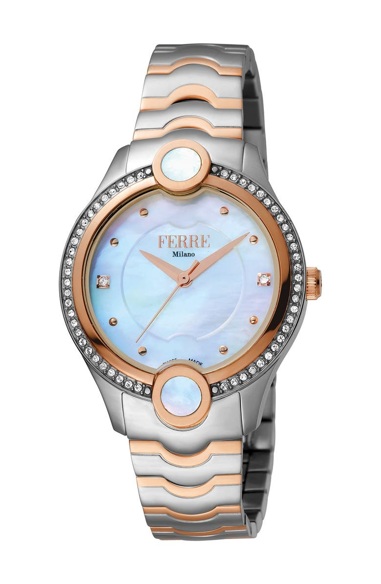 FERRE MILANO Women's Stainless Steel Watch, 34mm, Main, color, TWO TONED IPYG