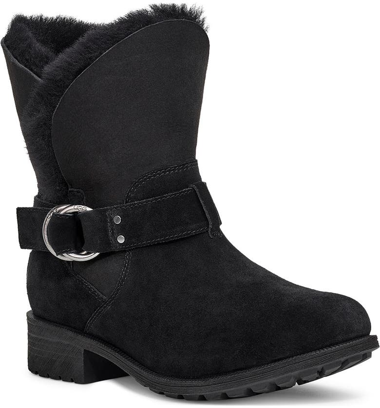 UGG<SUP>®</SUP> Bodie Moto Boot, Main, color, 001