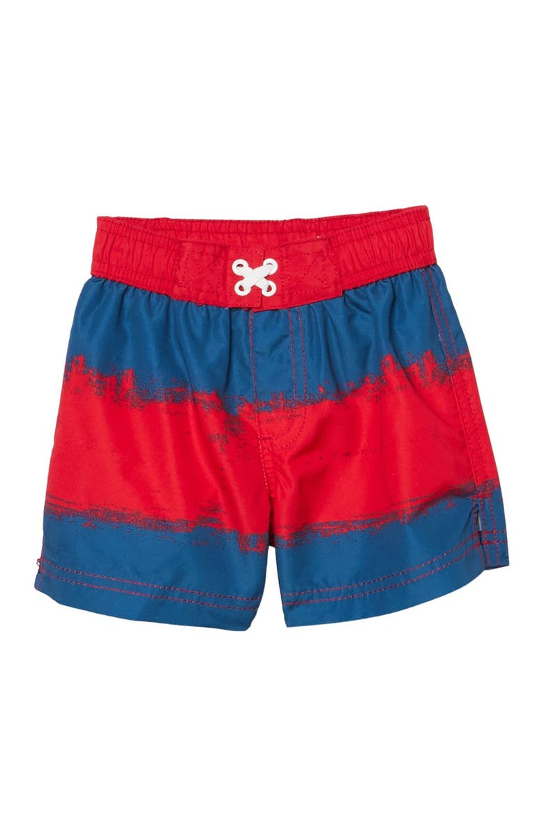 IXTREME Painted Stripe Swim Trunks, Main, color, RED