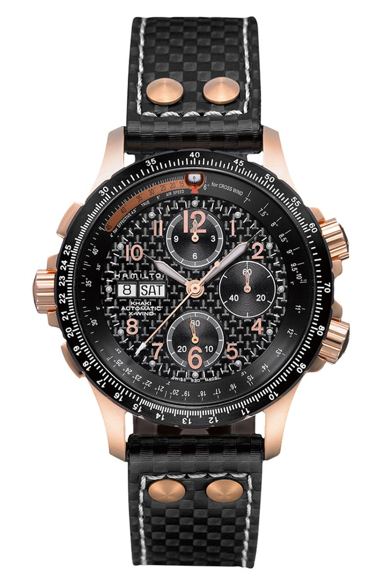 HAMILTON Khaki X-Wind Automatic Chronograph Leather Strap Watch, 44mm, Main, color, 001