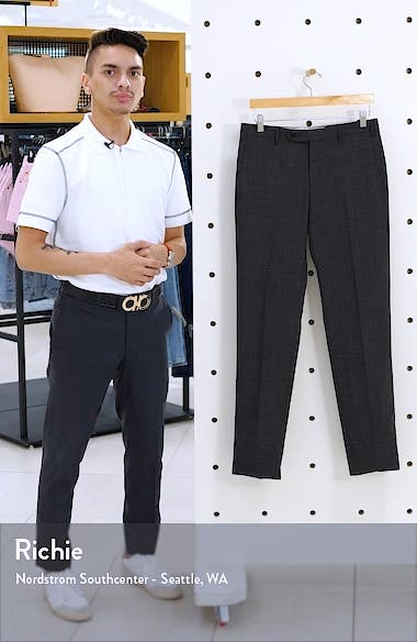 Parker Flat Front Windowpane Wool Trousers, sales video thumbnail