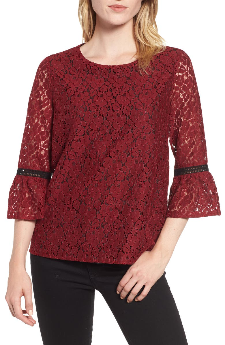 GIBSONLOOK Gibson x Glam Squad Erin Allover Lace Bell Sleeve Top, Main, color, 600