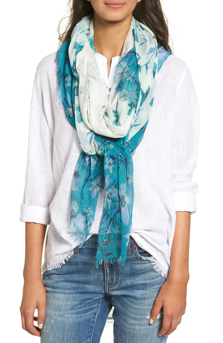 NORDSTROM Jungle Blossoms Scarf, Main, color, 440