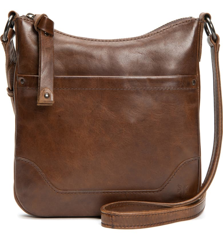 FRYE Melissa Swing Leather Crossbody Bag, Main, color, Dark Brown