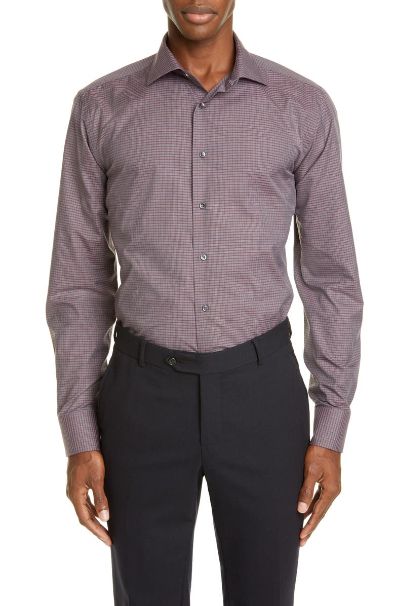 CANALI Regular Fit Plaid Dress Shirt, Main, color, 930