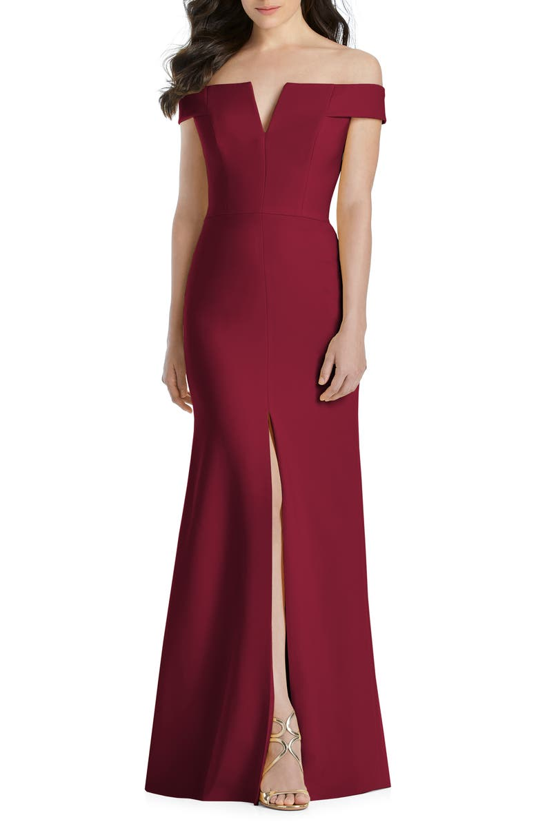 DESSY COLLECTION Notched Off the Shoulder Crepe Gown, Main, color, BURGUNDY