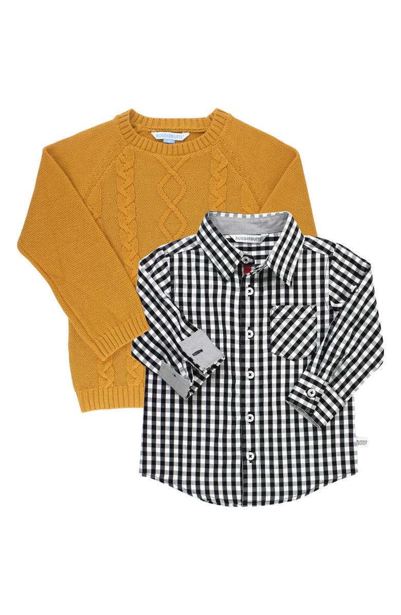 RUGGEDBUTTS Cable Knit Sweater & Gingham Shirt Set, Main, color, 700