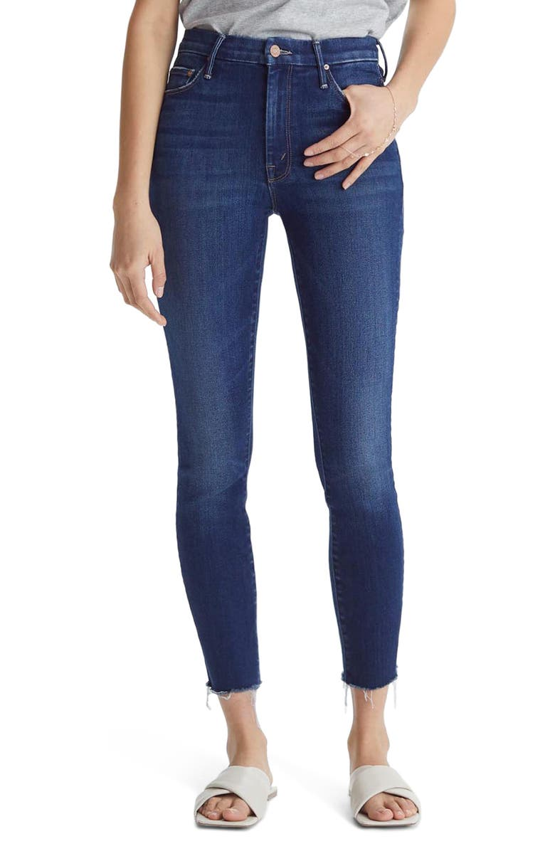 MOTHER The Looker High Waist Frayed Ankle Skinny Jeans, Main, color, 410