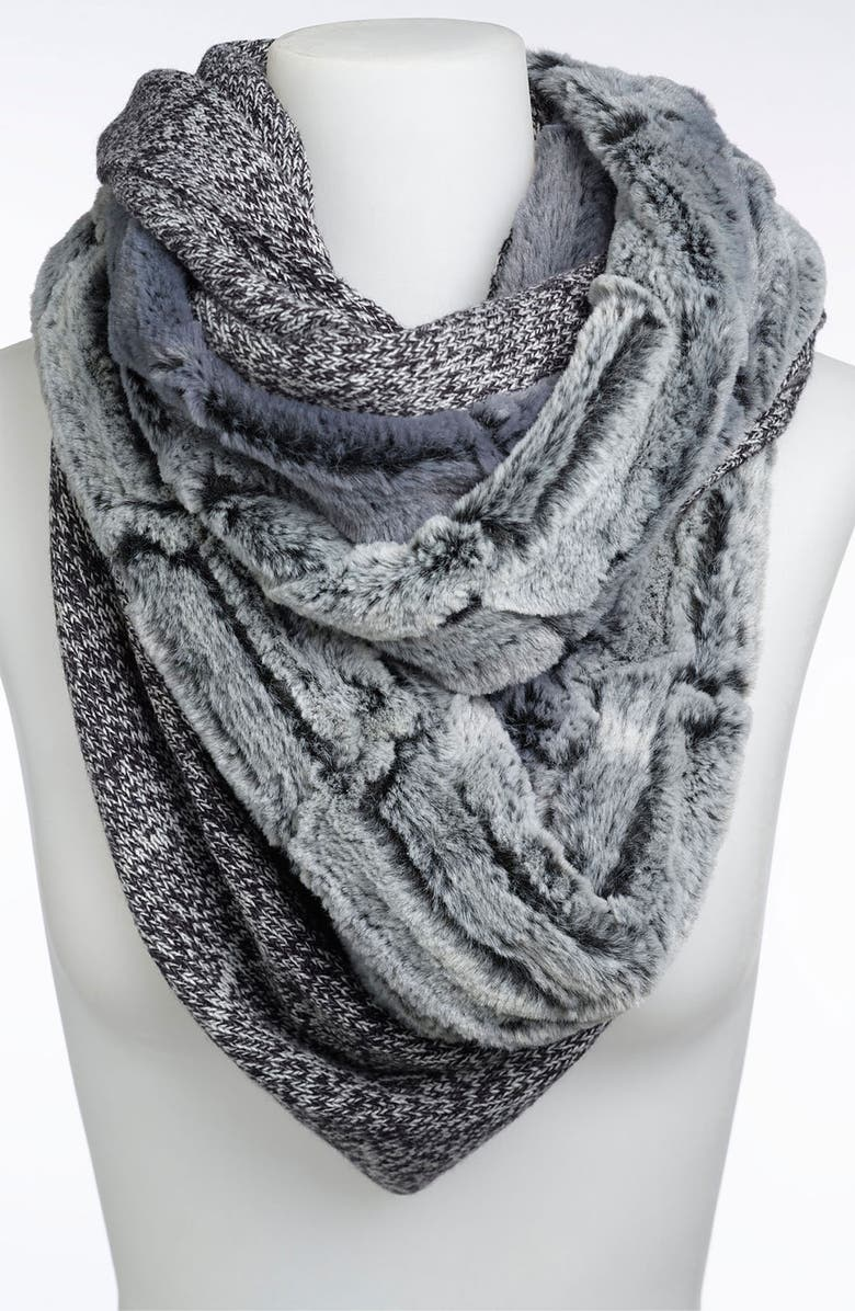 COLLECTION XIIX 'Piper' Faux Fur & Marled Knit Infinity Scarf, Main, color, 001