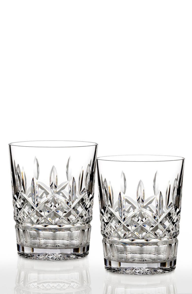WATERFORD Lismore Set of 2 Lead Crystal Double Old Fashioned Glasses, Main, color, CLEAR