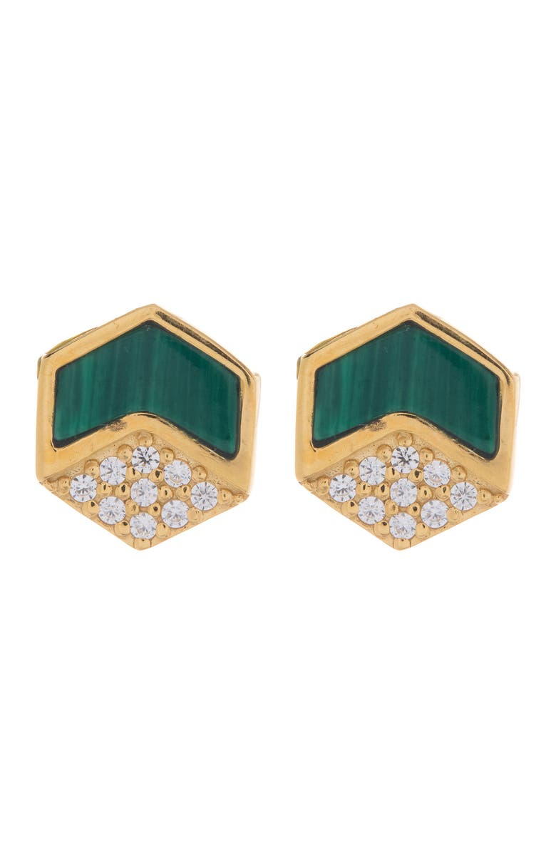 ARGENTO VIVO STERLING SILVER 18K Gold Plated Malachite Cubic Zirconia Pave Hexagonal Stud Earrings, Main, color, GOLD