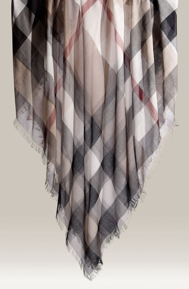 BURBERRY Check Print Cotton Scarf, Main, color, 250