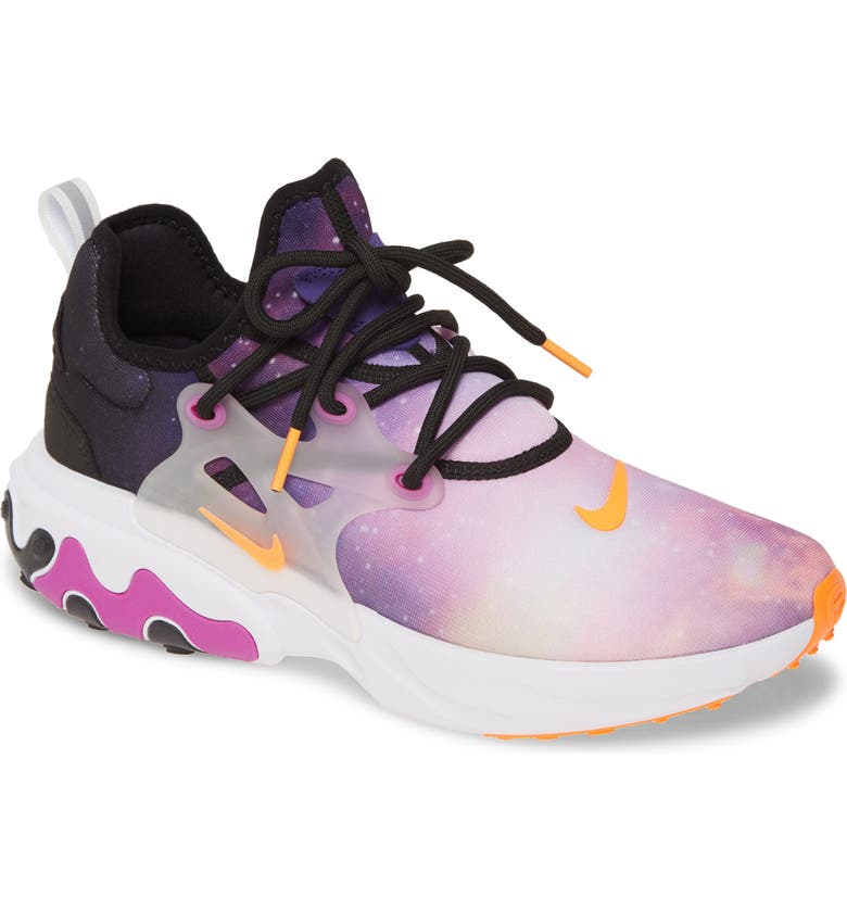 NIKE React Presto Premium Sneaker, Main, color, BLACK/ TOTAL ORANGE/ PURPLE