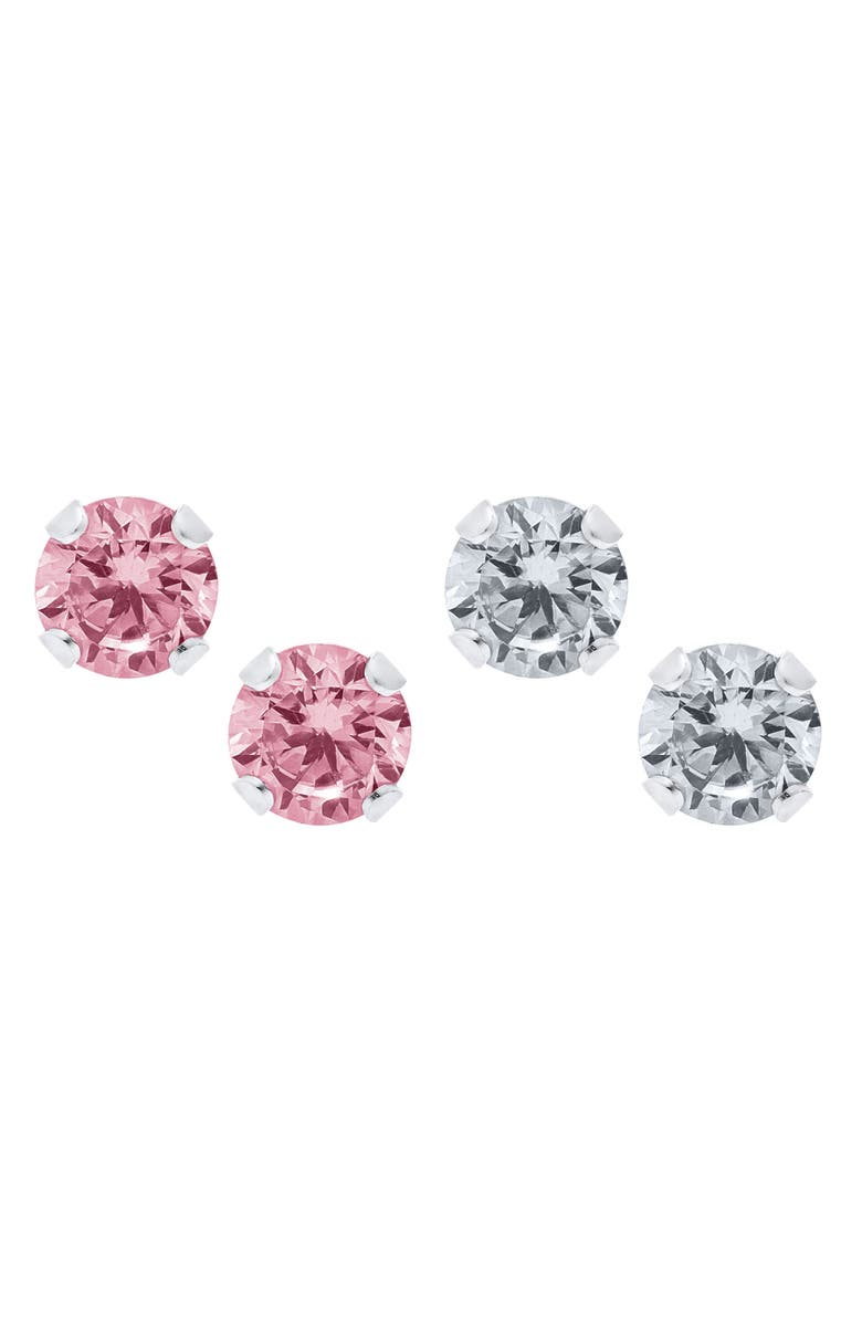 MIGNONETTE Set of 2 Sterling Silver Stud Earrings, Main, color, PINK/ WHITE