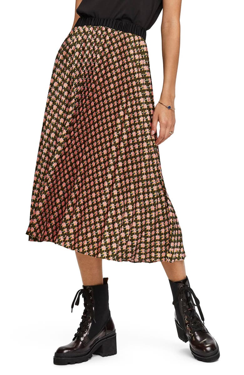 SCOTCH & SODA Print Pleated Midi Skirt, Main, color, 300