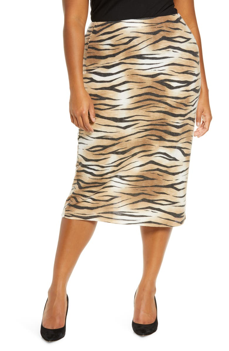 LEITH Tiger Stripe Midi Skirt, Main, color, TAN TIGER STRIPE