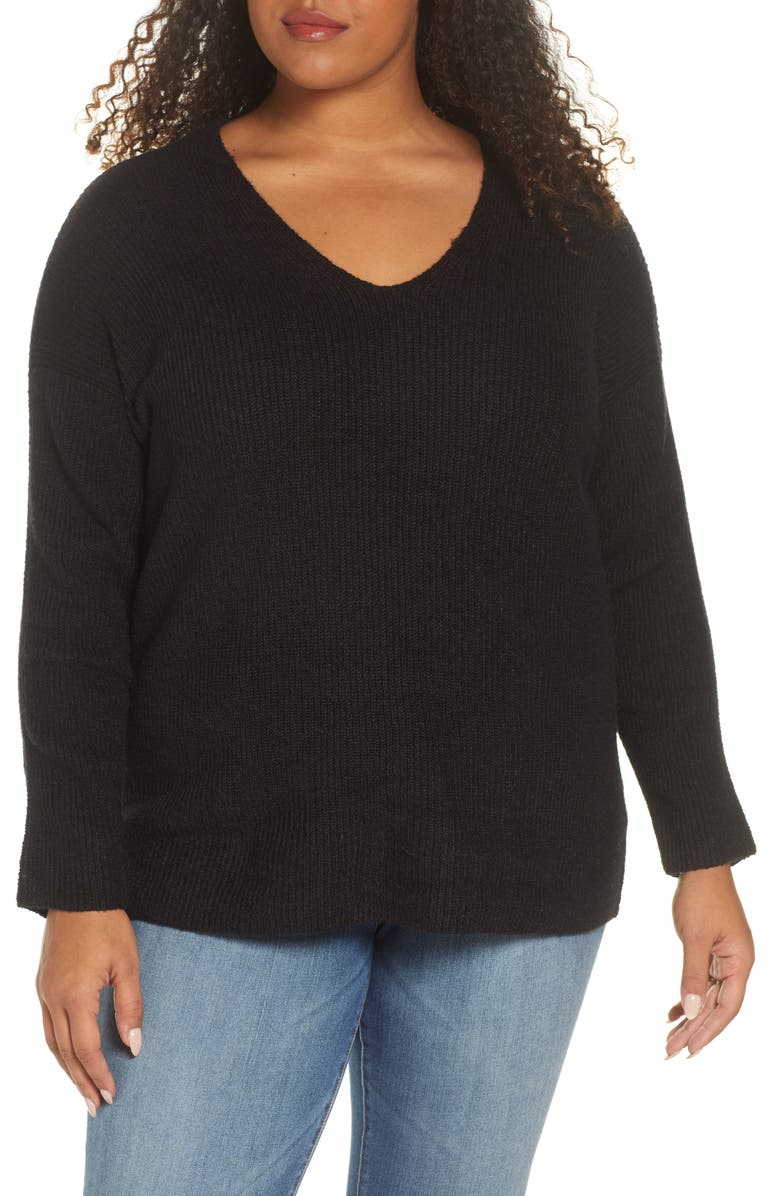 1.STATE Rib Knit V-Neck Sweater, Main, color, 001
