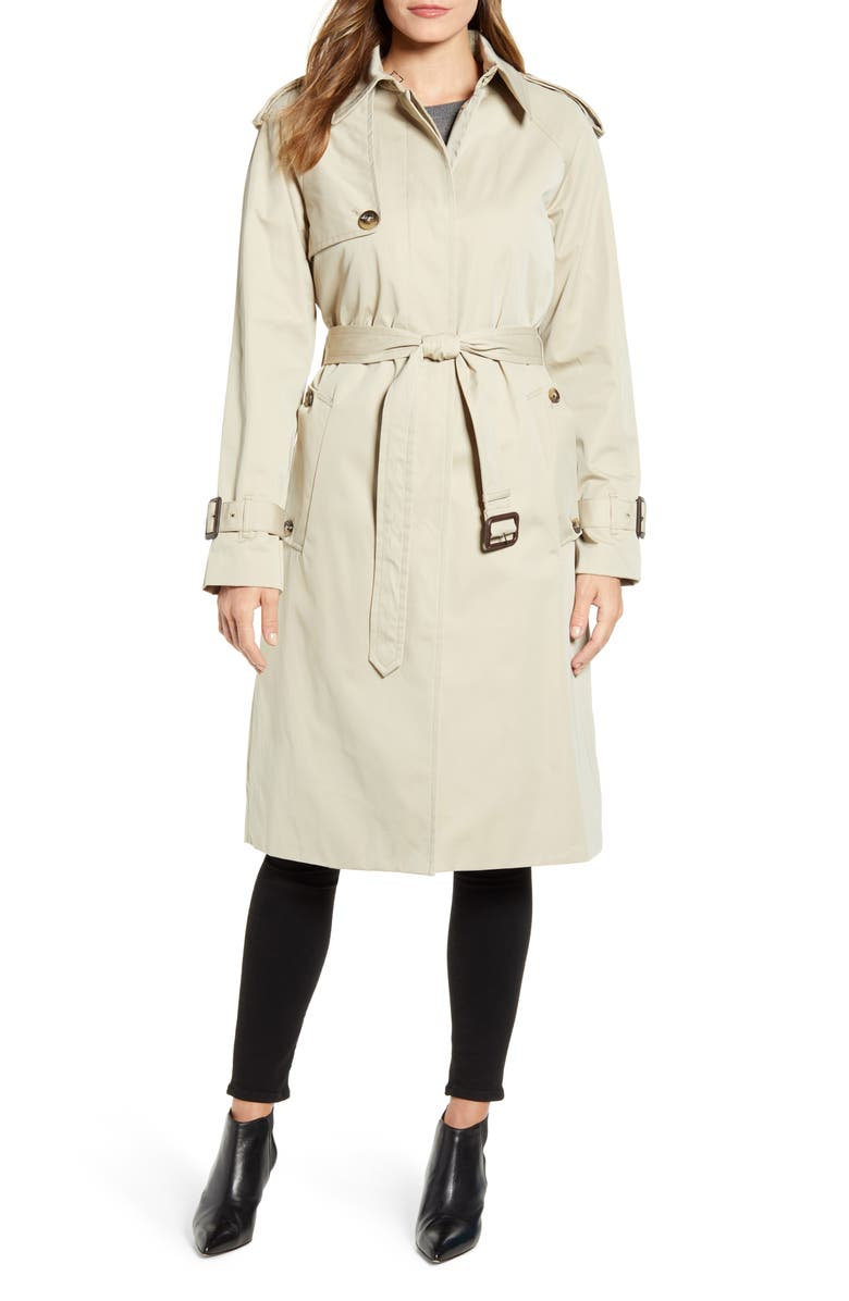 LONDON FOG Heritage Water Repellent Trench Coat, Main, color, STONE