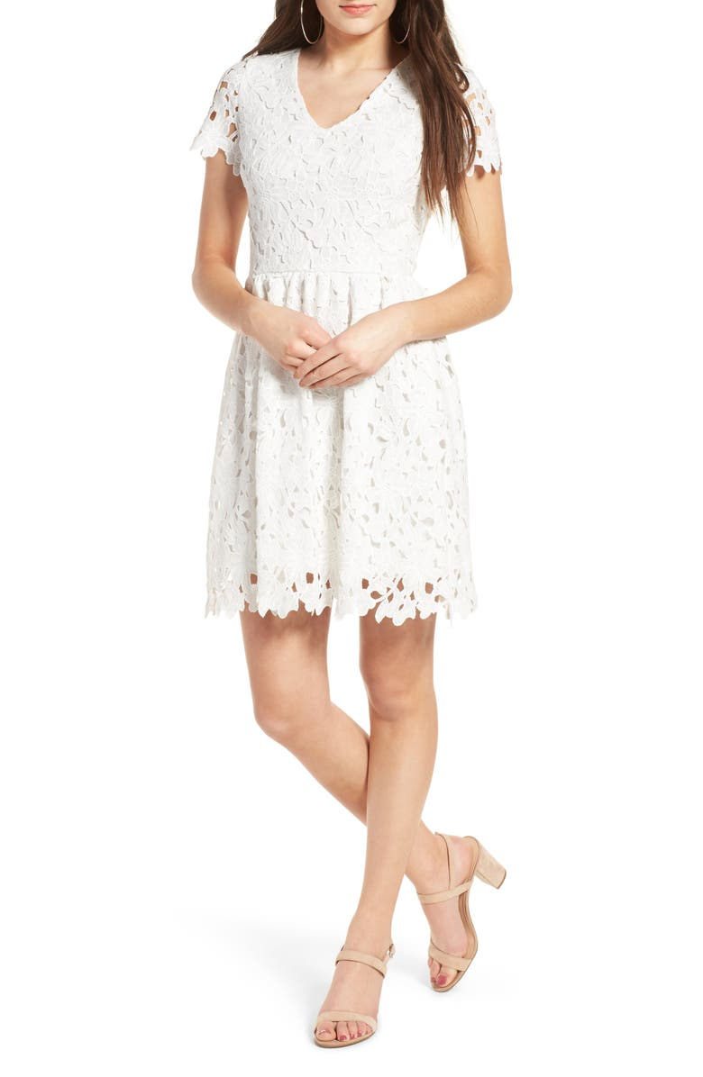 DEE ELLY Lace Skater Dress, Main, color, 110