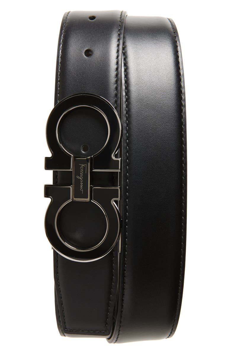 SALVATORE FERRAGAMO Double Gancio Leather Belt, Main, color, BLACK