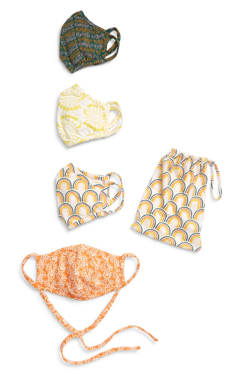 NORDSTROM Assorted 4-Pack Adult Face Masks, Main, color, WHITE COMBO