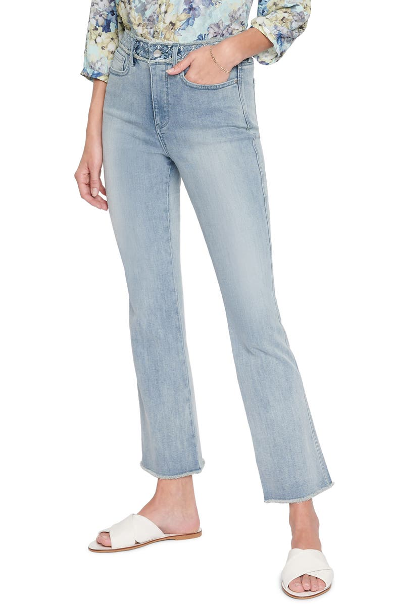 NYDJ Embroidered High Waist Frayed Ankle Slim Bootcut Jeans, Main, color, CLEAN AFFECTION