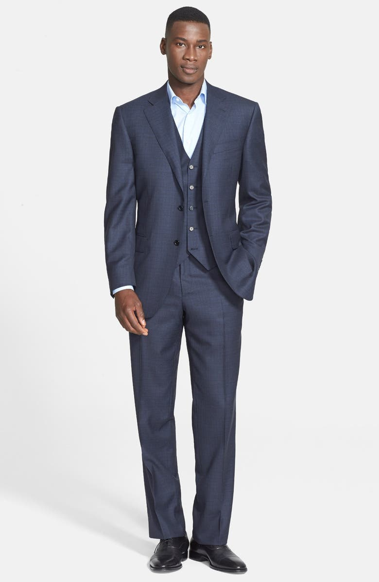 CANALI Classic Fit Three-Piece Check Suit, Main, color, 410