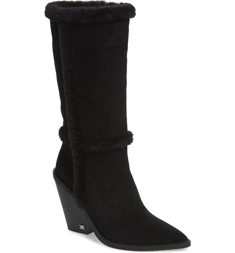 SAM EDELMAN Ilsa Faux Fur Trim Block Heel Boot, Main, color, 001