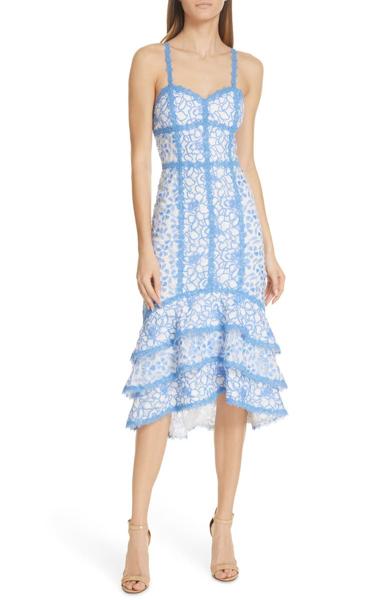 ALICE + OLIVIA Diane Tiered High/Low Dress, Main, color, CORNFLOWER/ WHITE