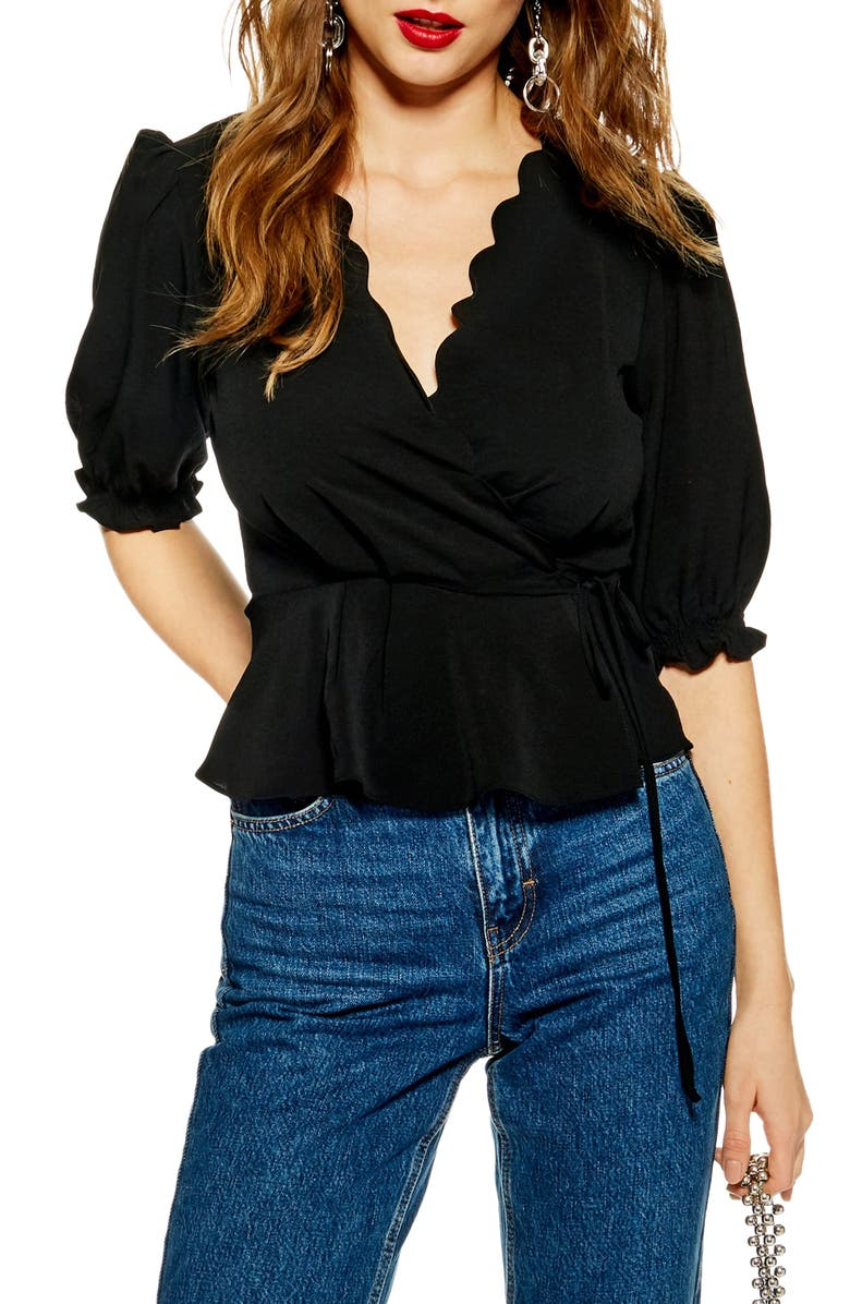 TOPSHOP Scarlett Scalloped Wrap Blouse, Main, color, 001