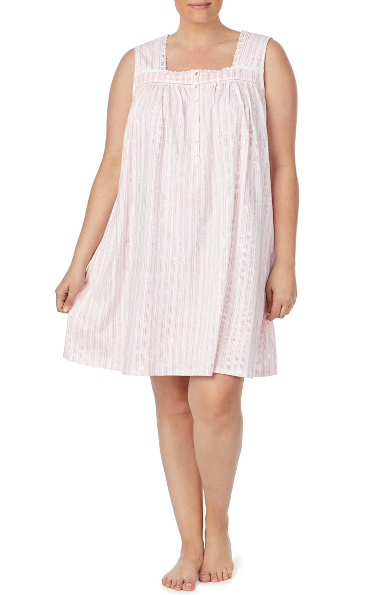 EILEEN WEST Square Neck Sleeveless Nightgown, Main, color, 654