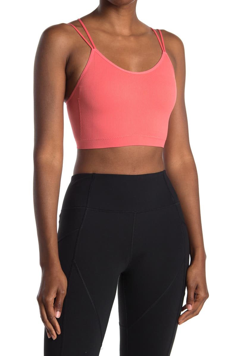 ABOUND Seamless Strappy Longline Bralette, Main, color, CORAL GLOW