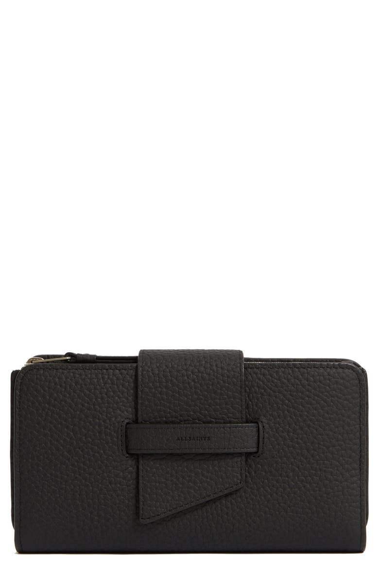 ALLSAINTS Ray Leather Wallet, Main, color, BLACK