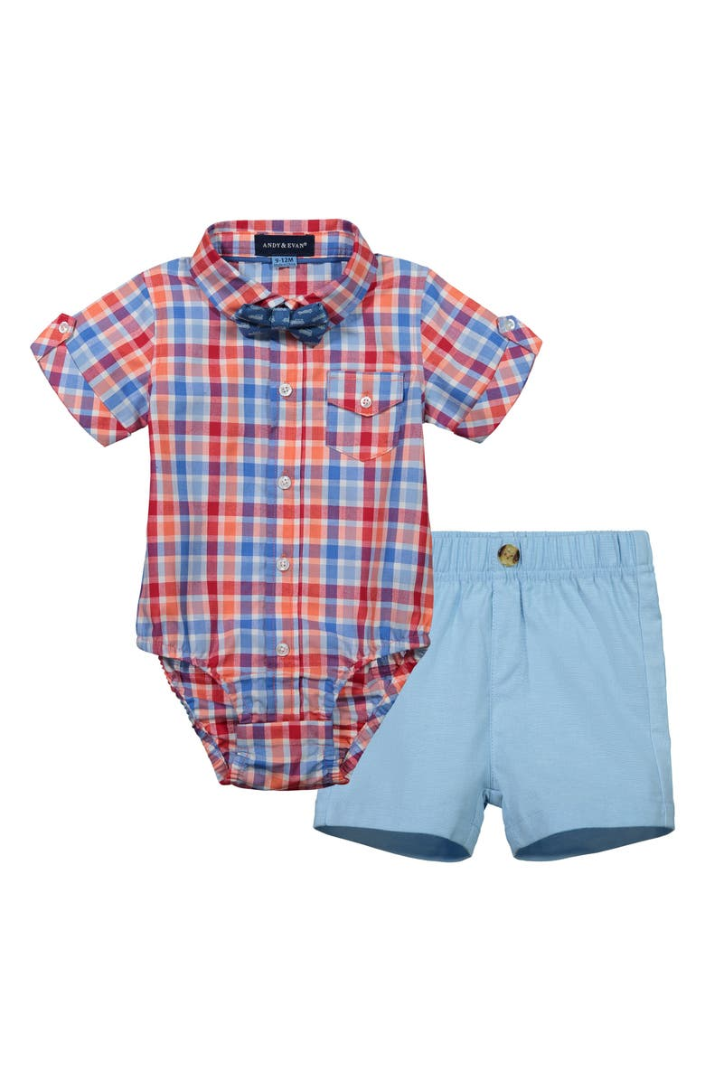 ANDY & EVAN Bodysuit, Shorts & Bow Tie Set, Main, color, 453