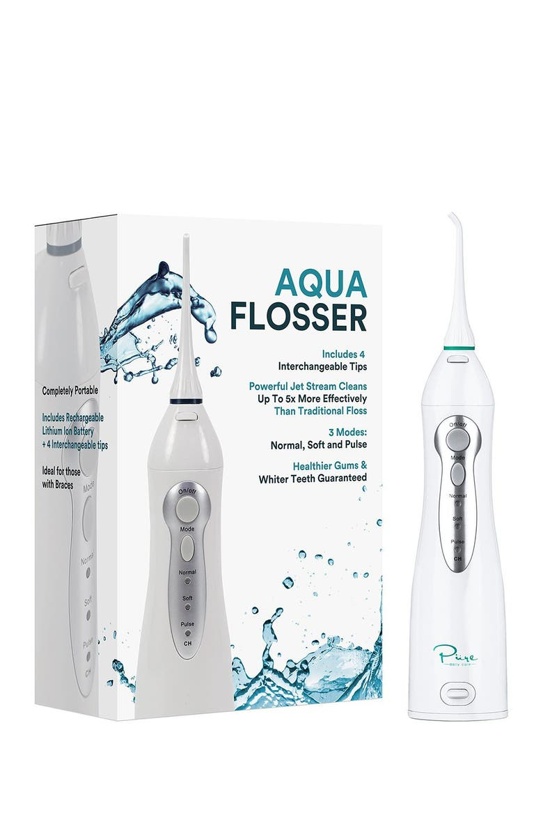 AQUASONIC White Water Flosser with 4 Tips & Travel Pouch, Main, color, NO COLOR