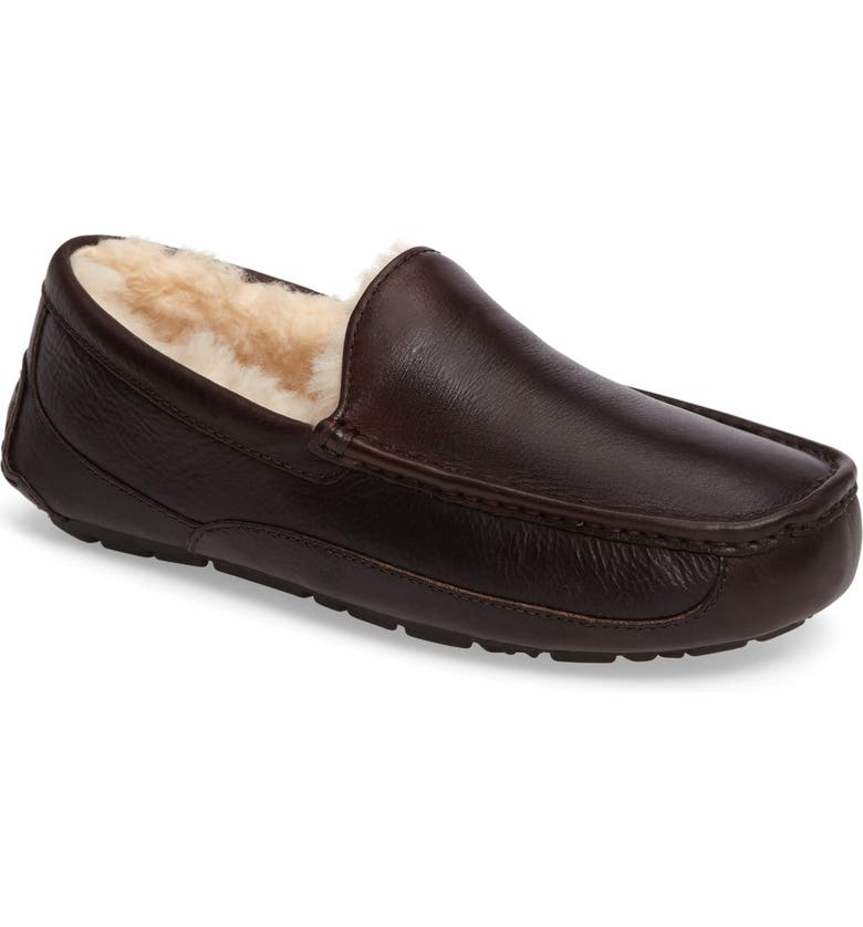 UGG<SUP>®</SUP> Ascot Leather Slipper, Main, color, CHINA TEA LEATHER