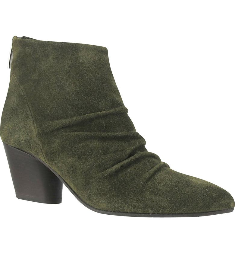 RON WHITE Ramia Pointed Toe Leather Bootie, Main, color, OLIVE SUEDE