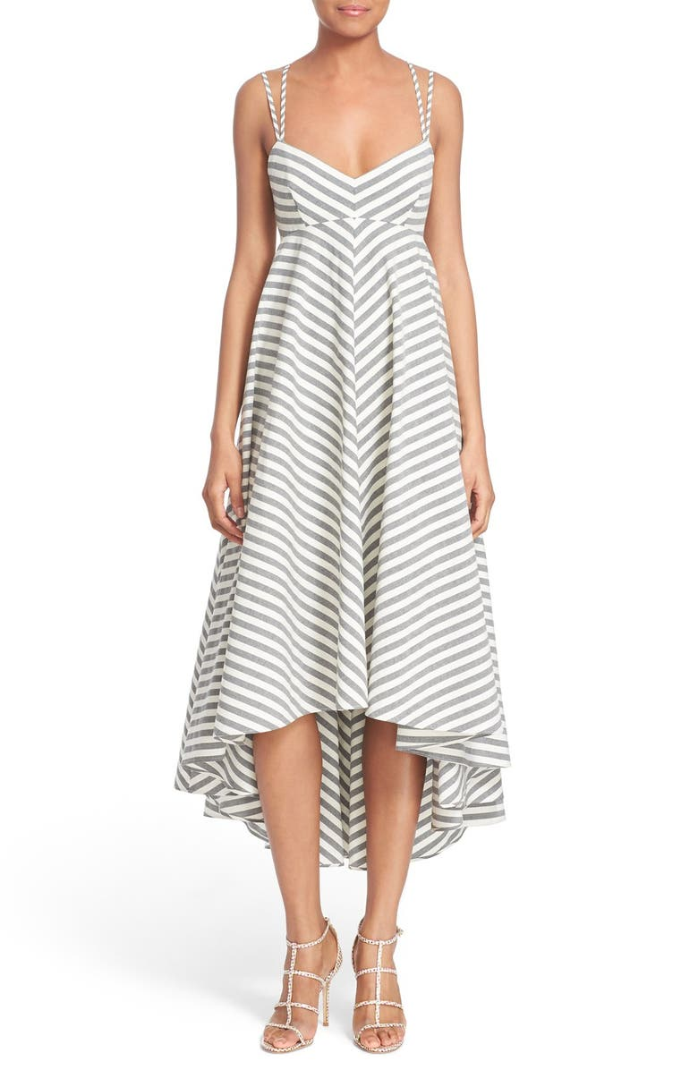 MILLY Strappy Stripe Maxi Dress, Main, color, Black