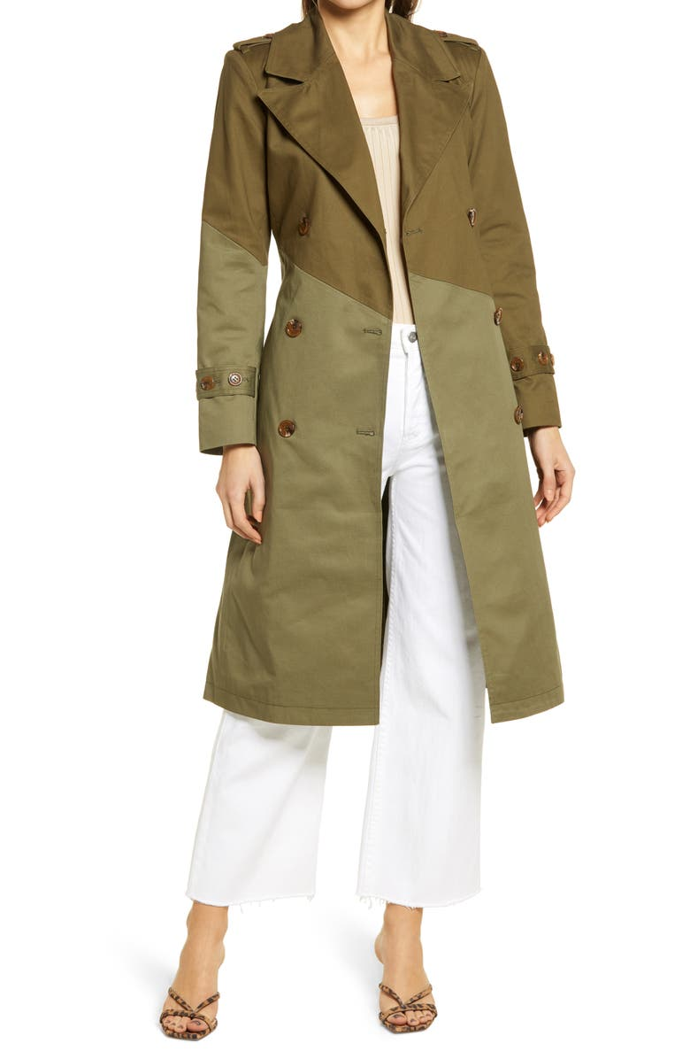 NORDSTROM Pieced Colorblock Trench Coat, Main, color, TWO-TONE GREEN DUNE