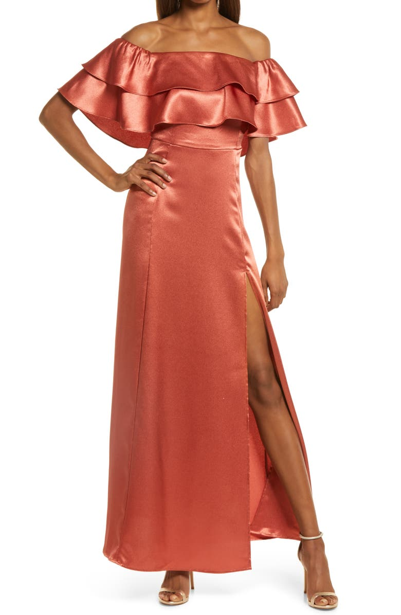 LULUS Pure Happiness Ruffle Off the Shoulder Satin Gown, Main, color, RUST ORANGE