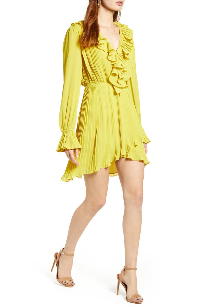 ENDLESS ROSE Pleated Plunge Neck Long Sleeve Dress, Main, color, 700