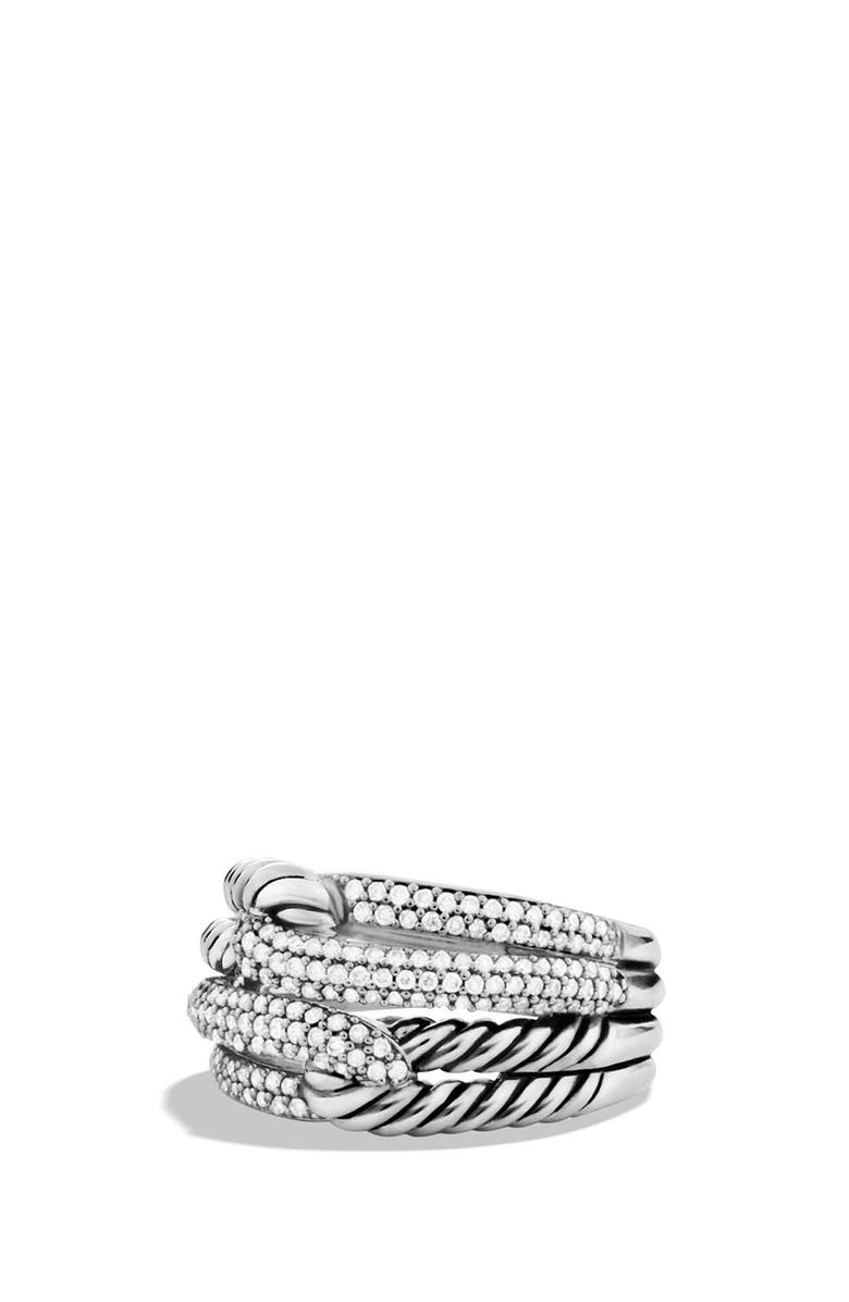 DAVID YURMAN 'Labyrinth' Double-Loop Ring with Diamonds, Main, color, 040