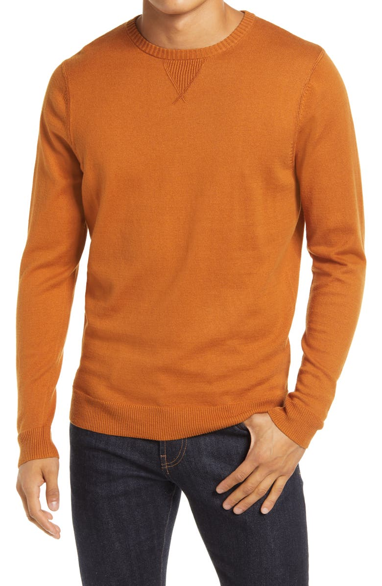 1901 Solid Crewneck Sweater, Main, color, RUST GINGER