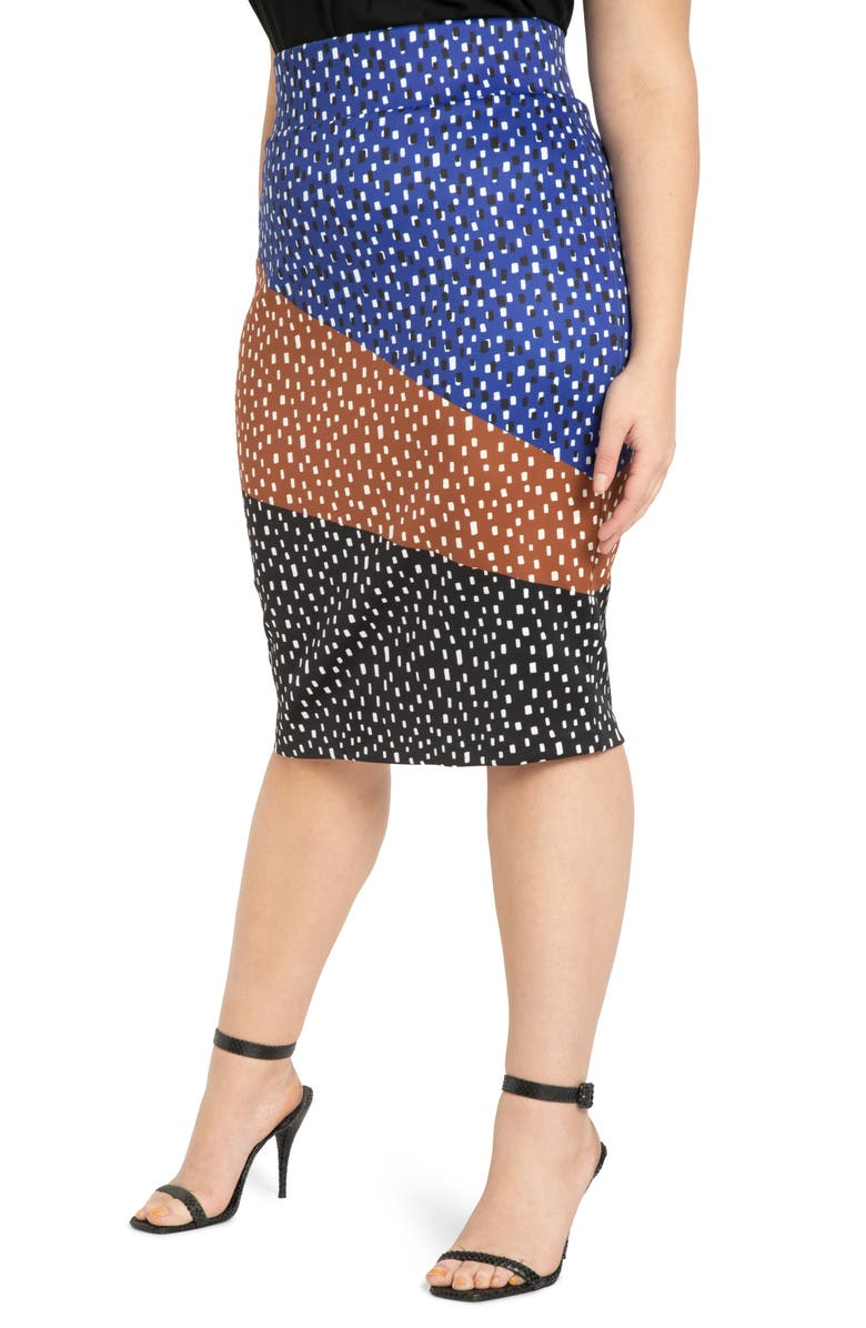 ELOQUII Colorblock Printed Neoprene Skirt, Main, color, DOTS ALL - COMBINATION