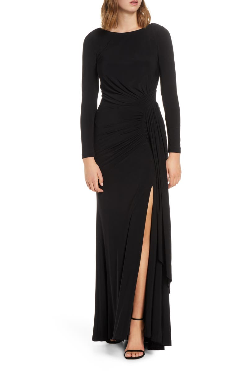 VINCE CAMUTO Long Sleeve Ruched Gown, Main, color, 001