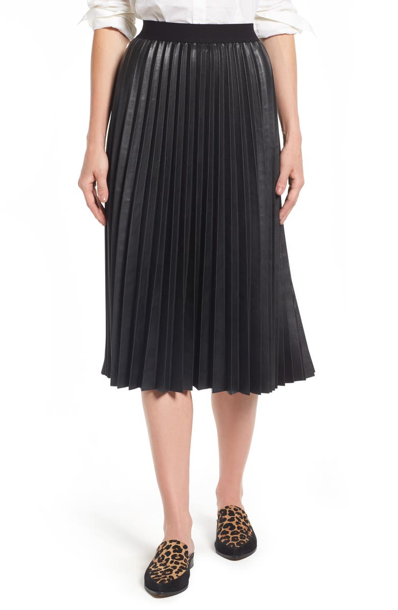 HALOGEN<SUP>®</SUP> Pleat Faux Leather Skirt, Main, color, 001
