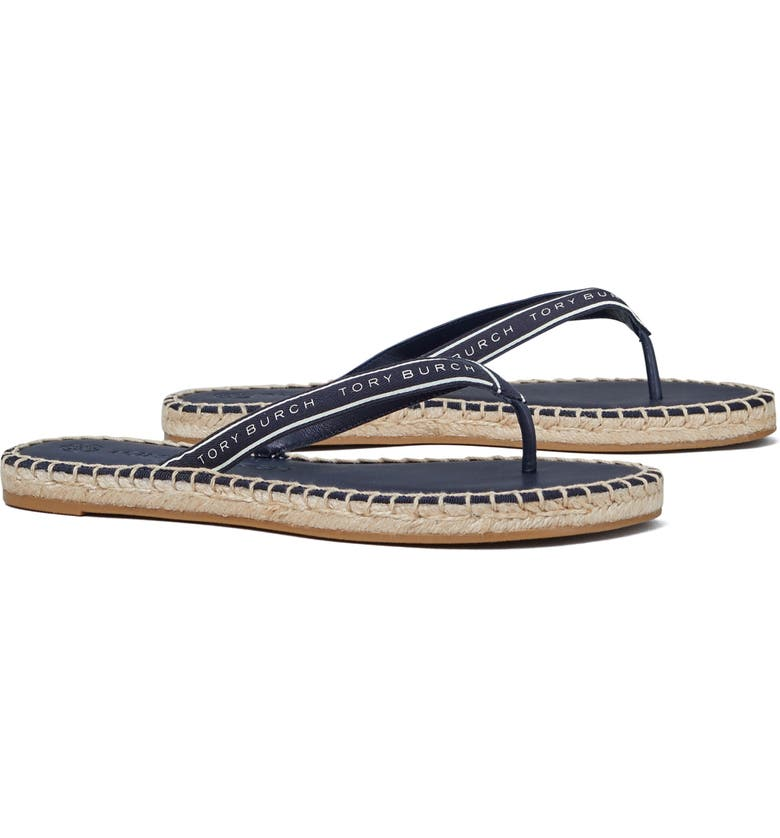 TORY BURCH Ribbon Flip Flop, Main, color, PERFECT BLACK/ NEW IVORY