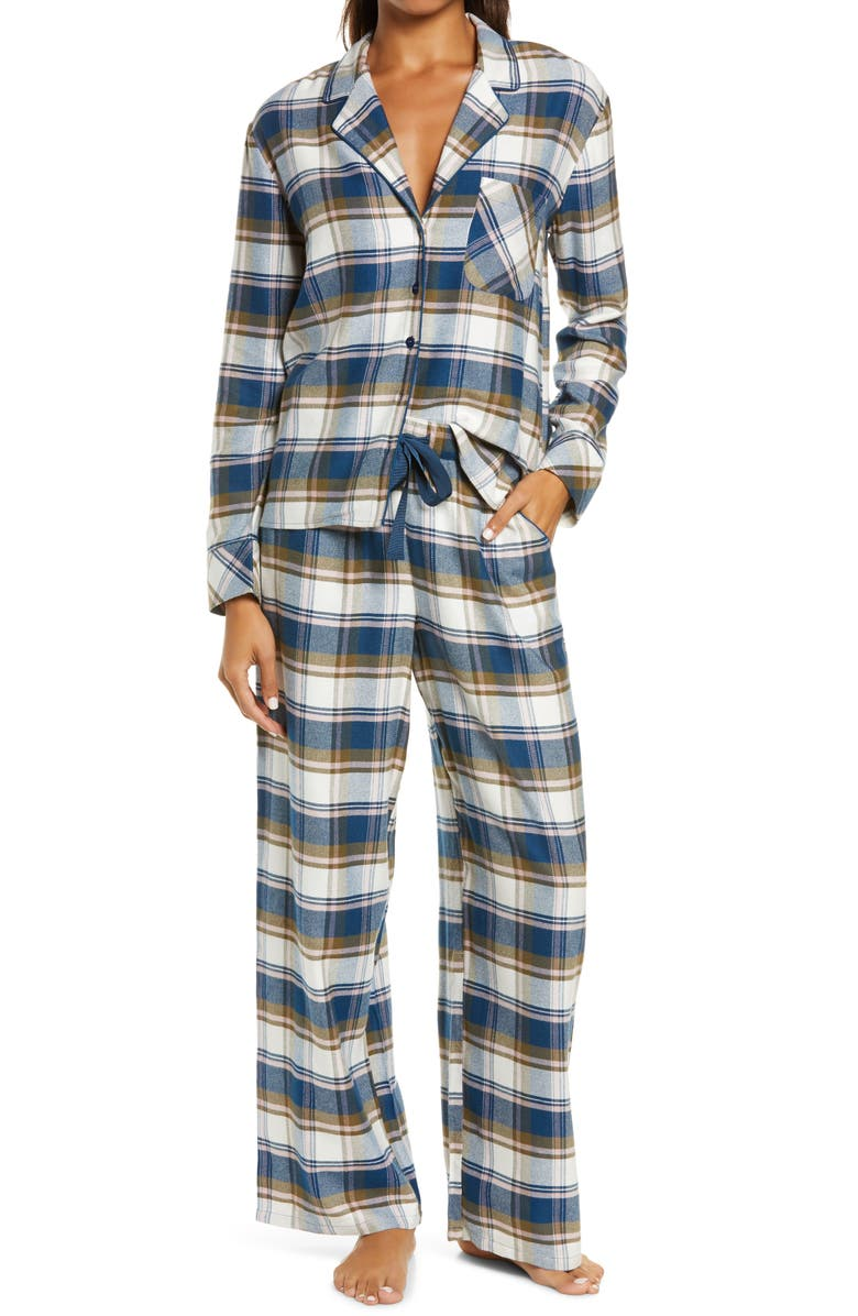 NORDSTROM Flannel Pajamas, Main, color, BLUE POSEIDON POP CHECK